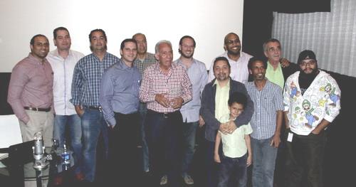 Amigos de la crítica de cine de Armando Almánzar durante el homenaje. Foto: Cinemaforum.