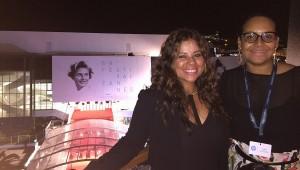 Cynthia Wiesner, programadora del Festival Fine Arts y Zumaya Cordero, directora, durante su participación en el Festival de Cannes.Foto: Fuente externa