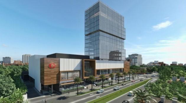 Ilustración de la fachada principal de lo que será el centro de entretención Downtown Center. Foto: Cortesía Caribbean Cinemas