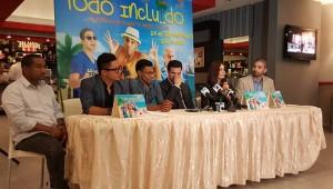 Manolo Ozuna, Robert Sánchez, Fausto Mata, Roberto Ángel,Jenny Blanco y Mario Peguero en la rueda de prensa. Foto: Fuente externa.