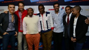 Adrian Uribe, Sebastian Rulli, Manolo Ozuna, Francis Disla, Jalsen Santana, El Querido, Fausto Mata durante la rueda de prensa. Foto: Fuente extena
