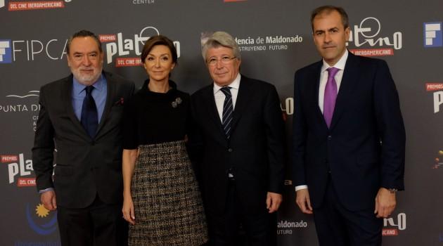En la presentación de la tercera edición de Premios Platino, Adrián Solar, Yolanda Flores, Enrique Cerezo y Miguel Ángel Benzal. Foto: Fuente externa.