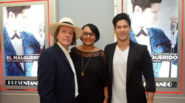 Diego Risquez, Zumaya Cordero, Jesus Miranda Chino, durante la presentación de la película en Fine Arts Novo Centro. Foto: Fuente externa.