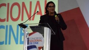 Yvette Marichal, Directora General de la DGCINE, mientras expone sus palabras de clausura. Foto: Fuente externa
