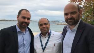 Adrien Majourel (Project and Festival Manager, FIAPF), Omar De La Cruz (Director FCGD) y Benoit Ginisty (Director General, FIAPF). Foto: Fuente externa