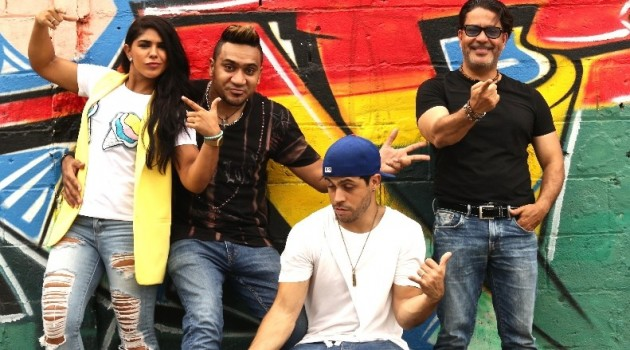 Shailyn Sosa, Silvio Mora, Javier Grullón y Francis Cruz, parte del elenco de la película. Foto: Fuente externa