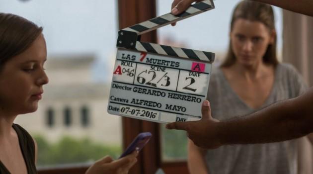"""Escena detrás de escena de """"7 Muertes"""". Foto: José Maracallo/Tornasol Films"""