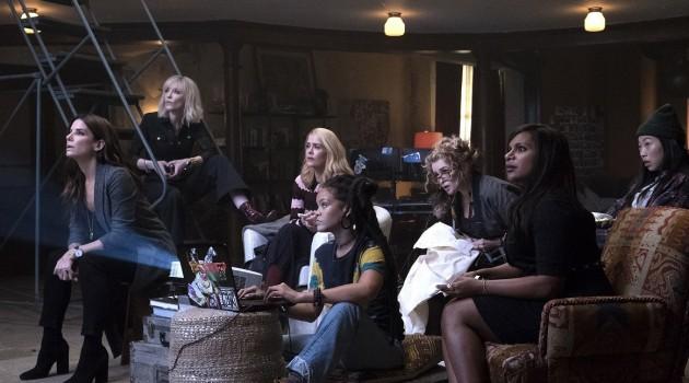 Esta secuela está protagonizada por Sandra Bullock, Cate Blanchett, Mindy Kaling, Sara Paulson, Anne Hathaway, Akwafina, Helena Bonham Carter y James Corden, además cuenta con participación de la famosa cantante Rihanna. Foto: Warner Bros.