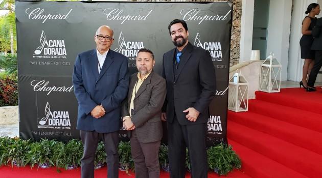 Los miembros de Adopresci, José Rafael Sosa, Félix Manuel Lora y Marc Mejía, durante su participación en el Festival Internacional de Cine Cana Dorada. Foto: Adopresci.