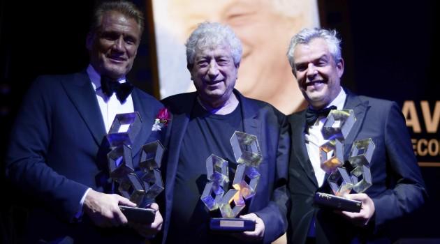 Dolph Lundgren, Avi Lerner y Danny Huston recibieron sus reconocimientos por parte de la organización del festival. Foto: Prensa Festival Cana Dorada.